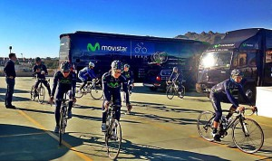 The Movistar team goes out to train